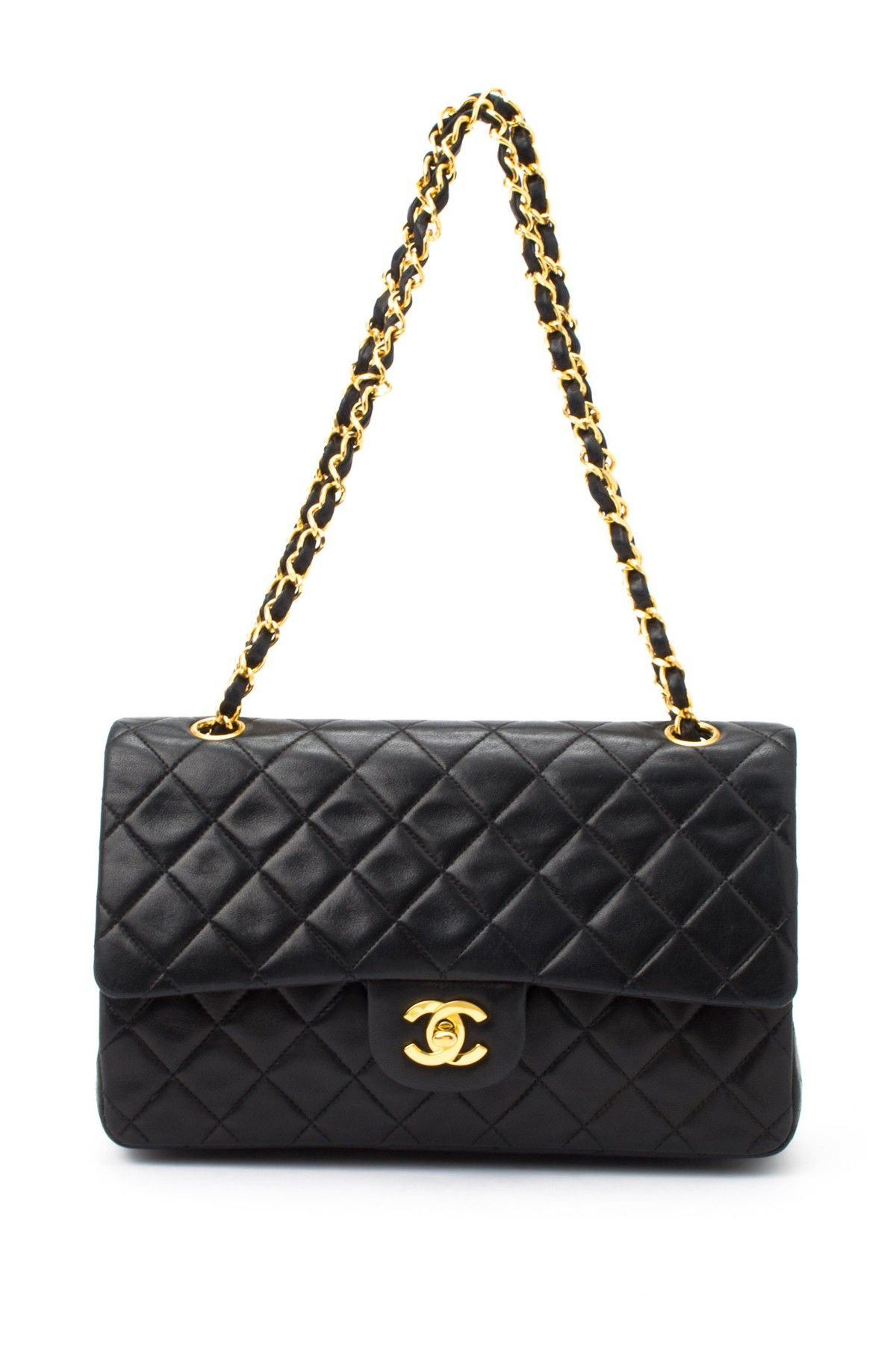 318dcaf0261 Vintage Chanel Lambskin Matelasse Double Chain Shoulder Bag on HauteLook