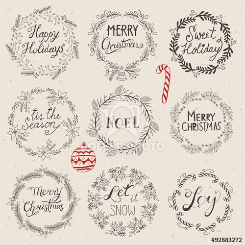 Christmas Wreath Set For Logo Design Hand Drawing Vector Illust