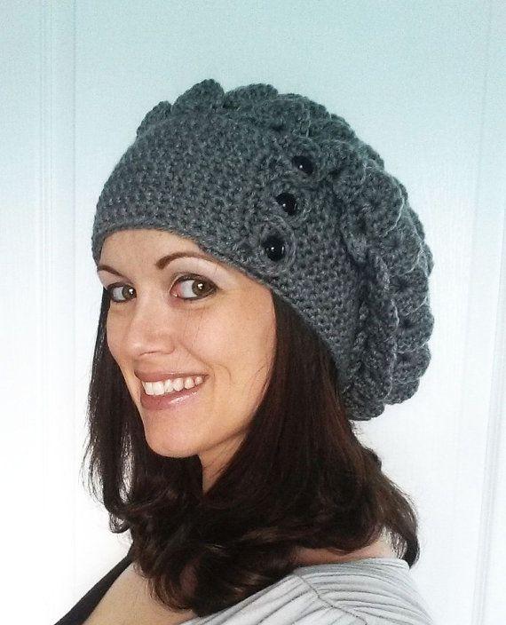 b11d47a56 Big Crocodile Stitch Slouch Hat Crochet Pattern Over sized Slouchy 3 ...