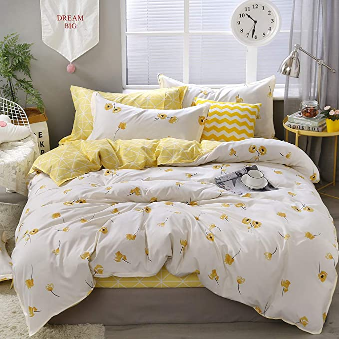 Amazon Com Yellow Flower Bedding Luxury Floral Duvet Cover Set Lucky Clover And Yellow Plaid Reversible Des Yellow Bedding Duvet Bedding Sets Duvet Cover Sets
