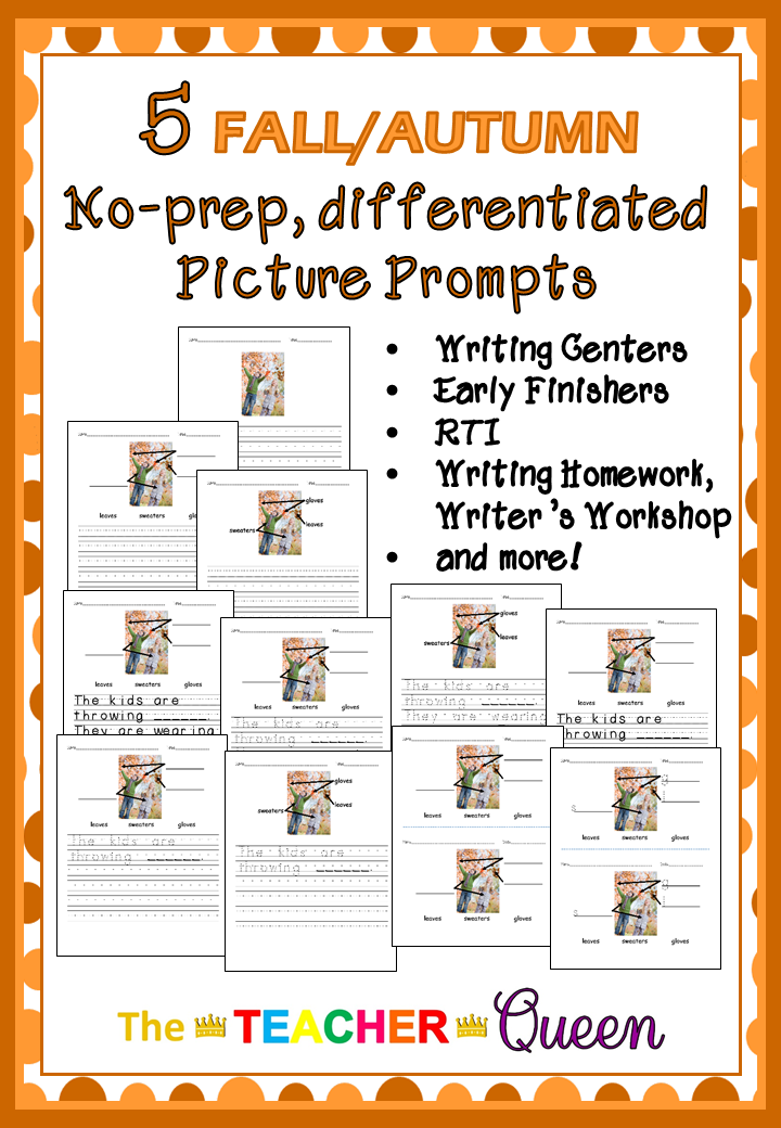 5 Fallautumn No Prep Differentiated Picture Prompts For Writing