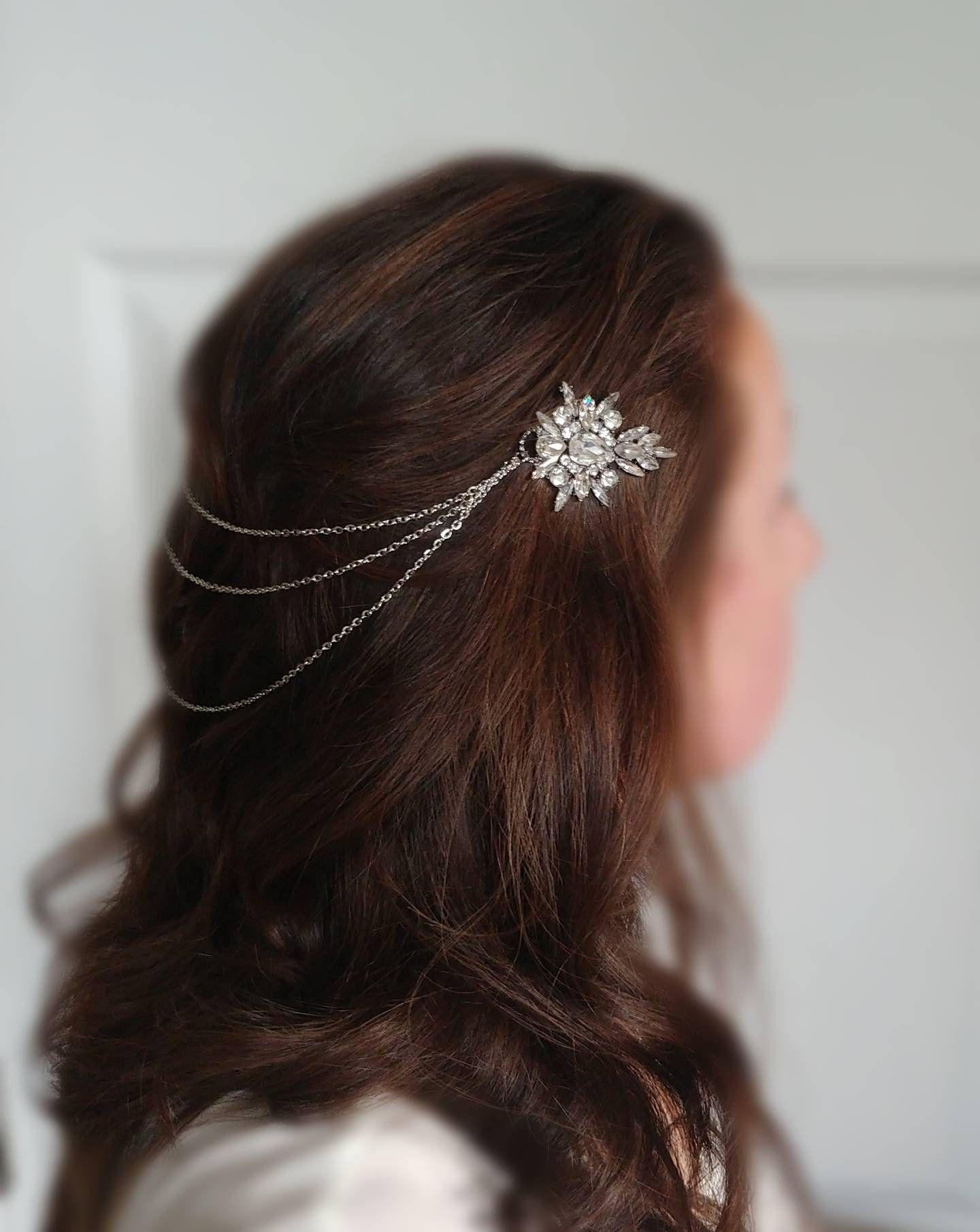 white gold bridal hair chain style 1-hair jewelry-silver