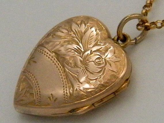 engraved lockets gold heart original necklace vintage locket