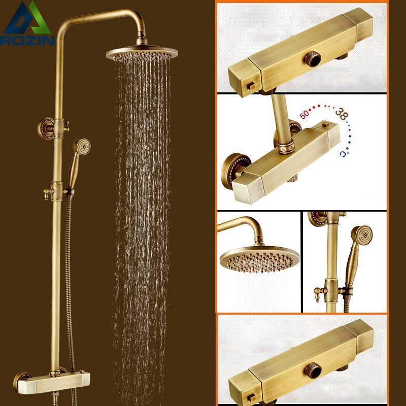 168 15 Buy Best Quality Antique Brass Rainfall 8 Shower Head Thermostatic Mixer Vavle Shower Faucet Temperature Con Shower Faucet Sets Faucet Shower Faucet