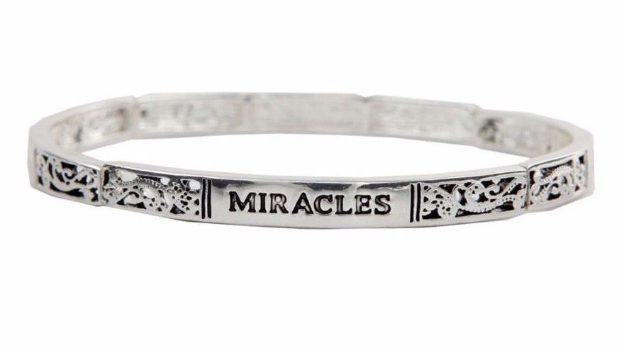 """NWT Silver """"IMAGINE"""" Inspirational Etched Scroll Gift Stackable Bracelet #RainJewelryCollection #StretchBangle"""