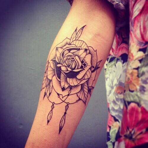 Rose With Feathers And Beads Inner Forearm Tattoo Bohemian Tattoo Forearm Flower Tattoo