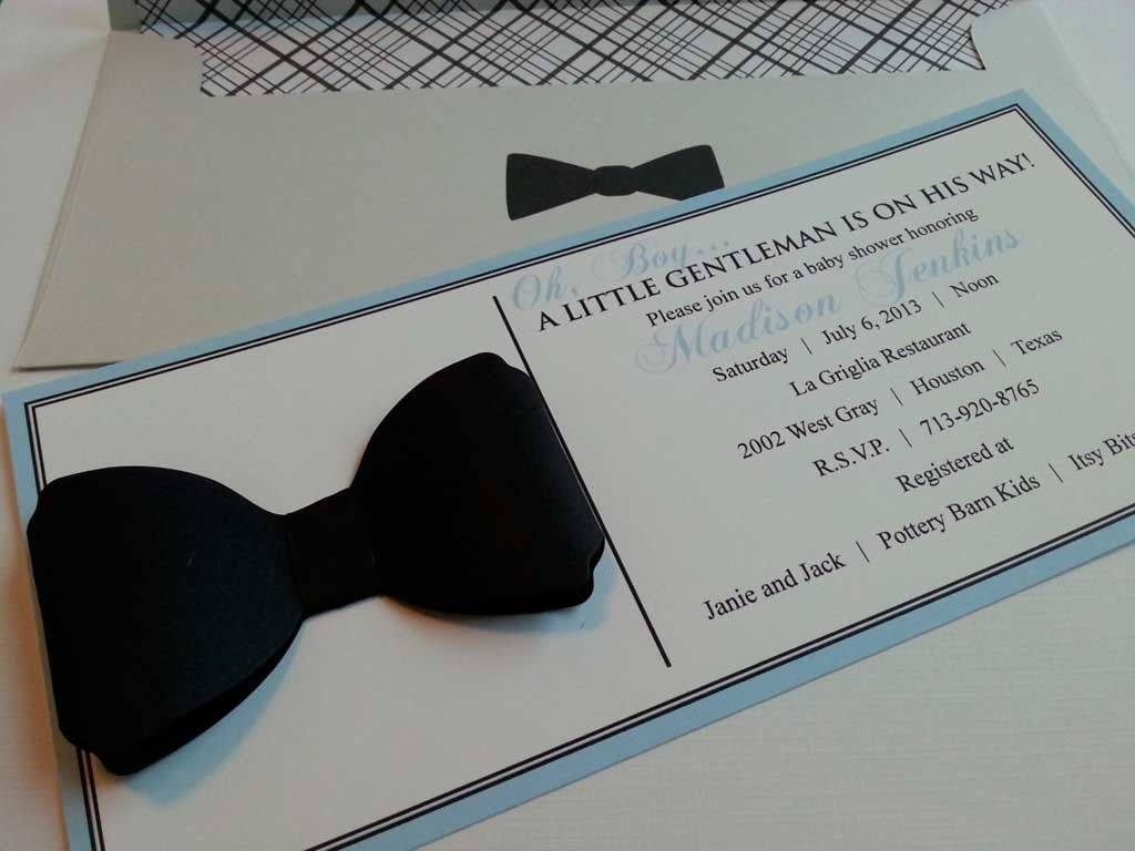 Diy baby shower invitations ideas for little gentleman bowtie baby diy baby shower invitations ideas for little gentleman bowtie baby shower invitation with diy paper crafts solutioingenieria Gallery