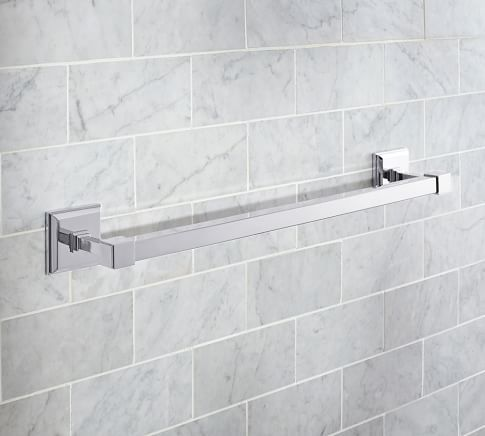 Harkening Back To The Bath Fixtures In Turn Of Century New York City Hotels Our Alcott Towel Bar Features Square Bars And A Stepped Plate