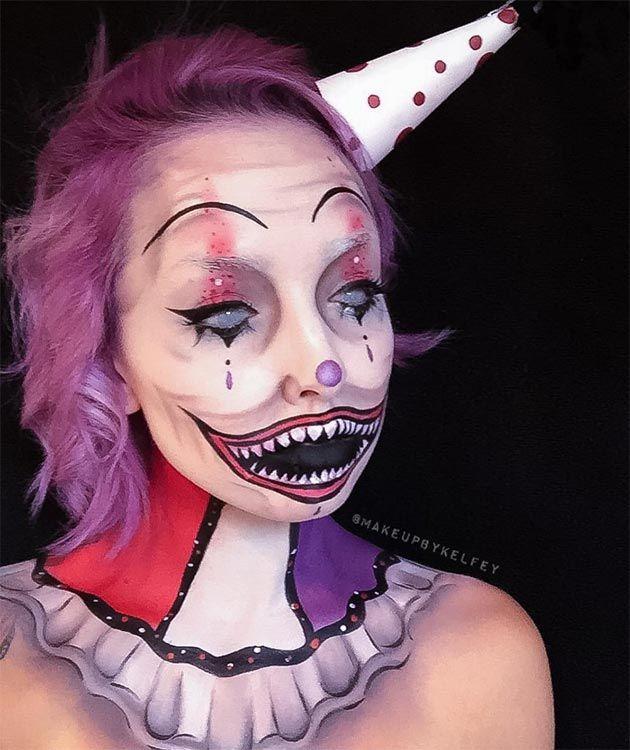 50 Terrifyingly Creative Halloween Makeup Ideas To Try Halloween - clown ideas for halloween