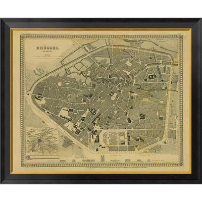"""Global Gallery Brussels, Belgium, 1860 - Tea Stained Framed Graphic Art on Canvas Size: 28"""" H x 34"""" W x 1.5"""" D"""