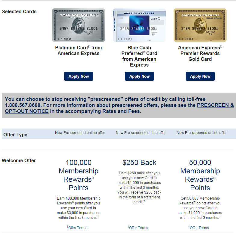 Current American Express Pre Qualified Card Offers Available