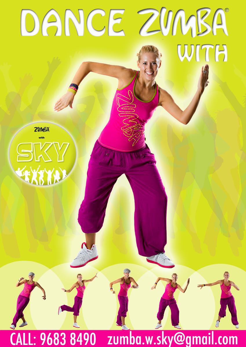 Zumba poster design - Poster Design Sky Zumba Fitness