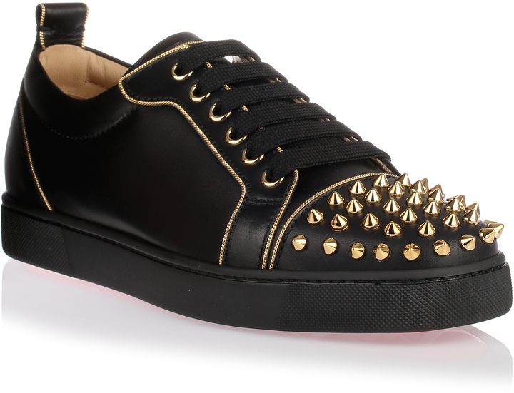 christian louboutin black and gold shoes