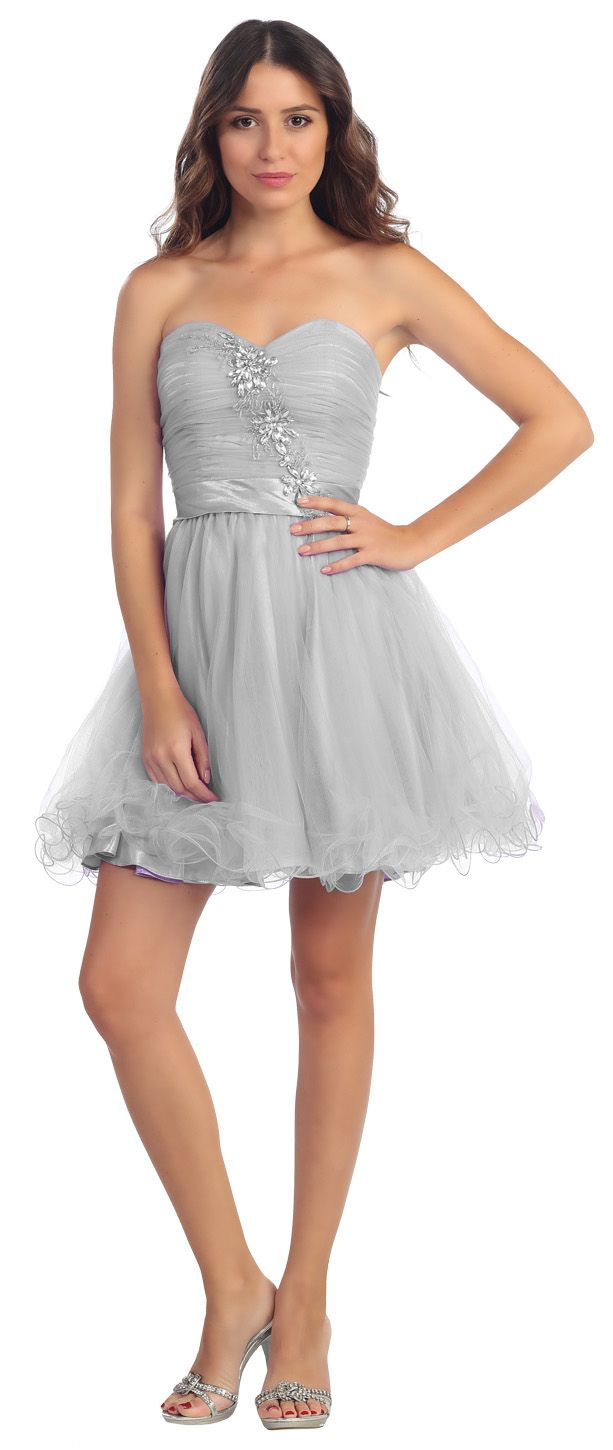 b876a0cc266 Poofy Silver Short Homecoming Ball Gown Sweetheart A Line