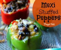 Freezer Meal Recipes: Mexi Stuffed Peppers   Fabulessly Frugal. I'm only going to freeze the filling.