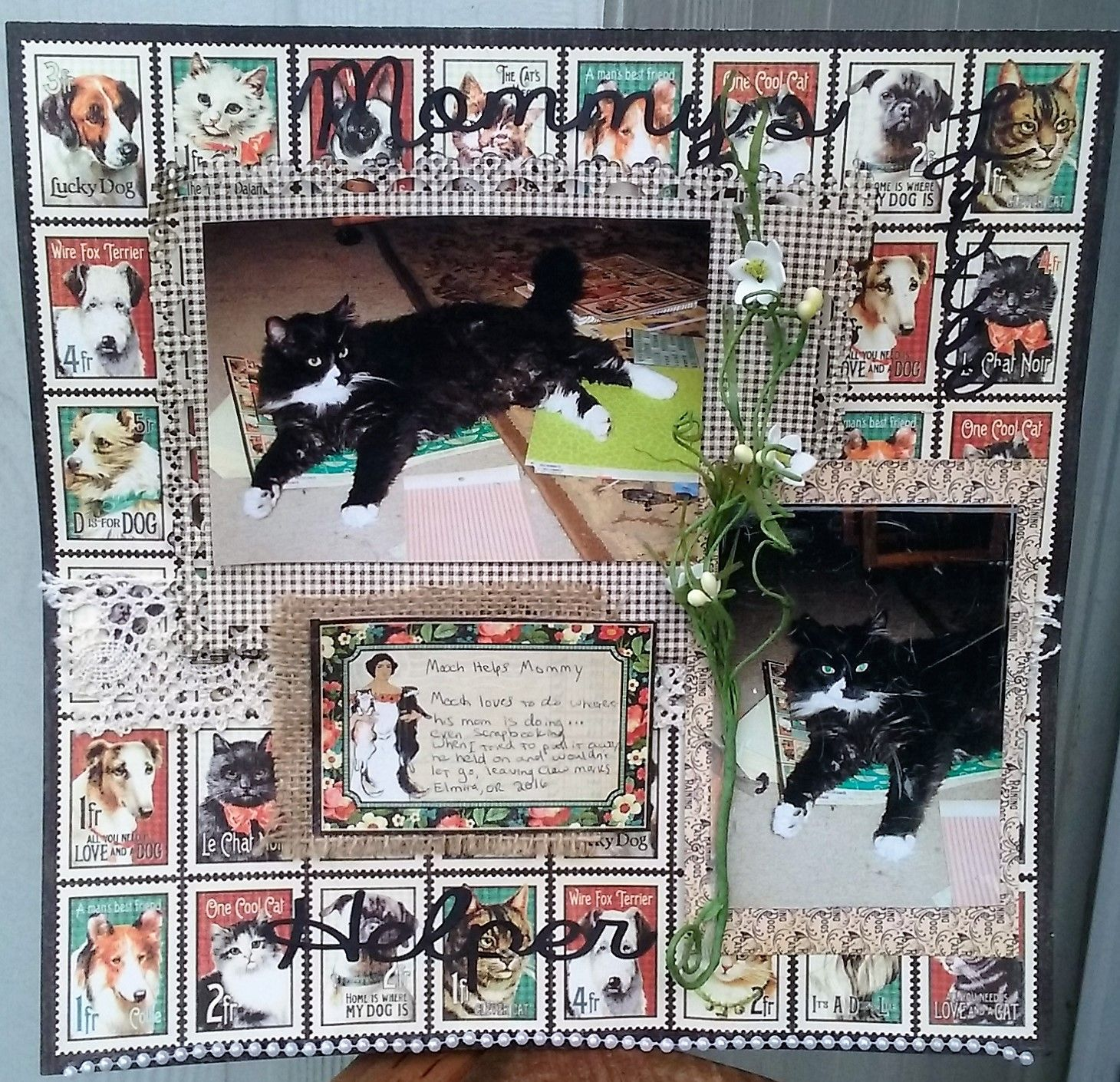 Scrapbook paper dogs - Mooch Helps His Mom With Her Scrapbook Projects Ironically Choosing Of All The Papers Scattered Around Her House The Pet Themed Scrapbook Paper
