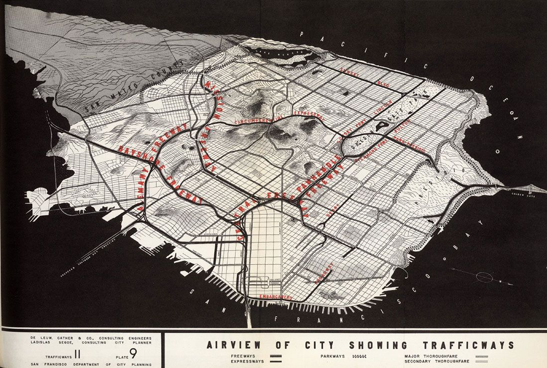 San Francisco Airview of City Showing Trafficways