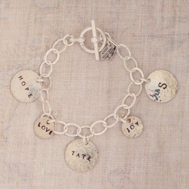 Circle Of Life Hand Stamped Charm Bracelet Three sisters jewelry