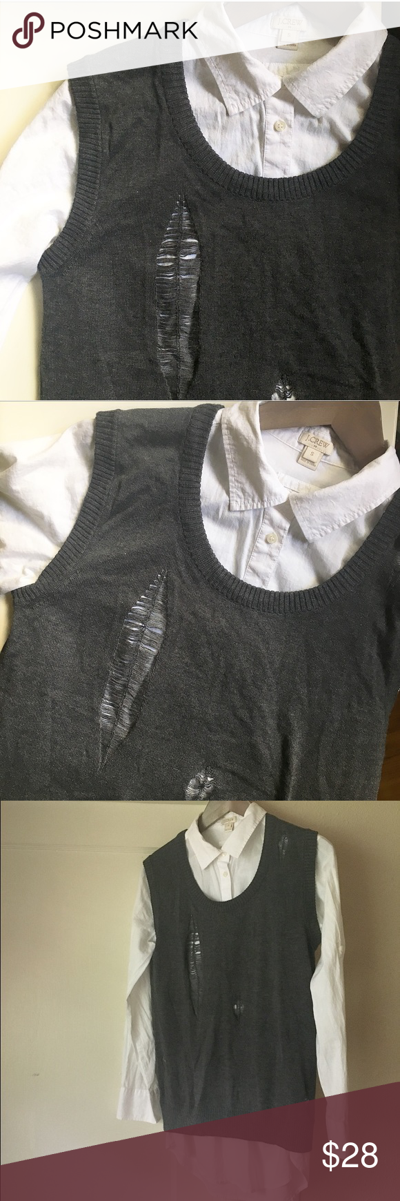 Gray Distressed Vest Charcoal gray distressed sweater vest. Four distressed spots in front - all in...