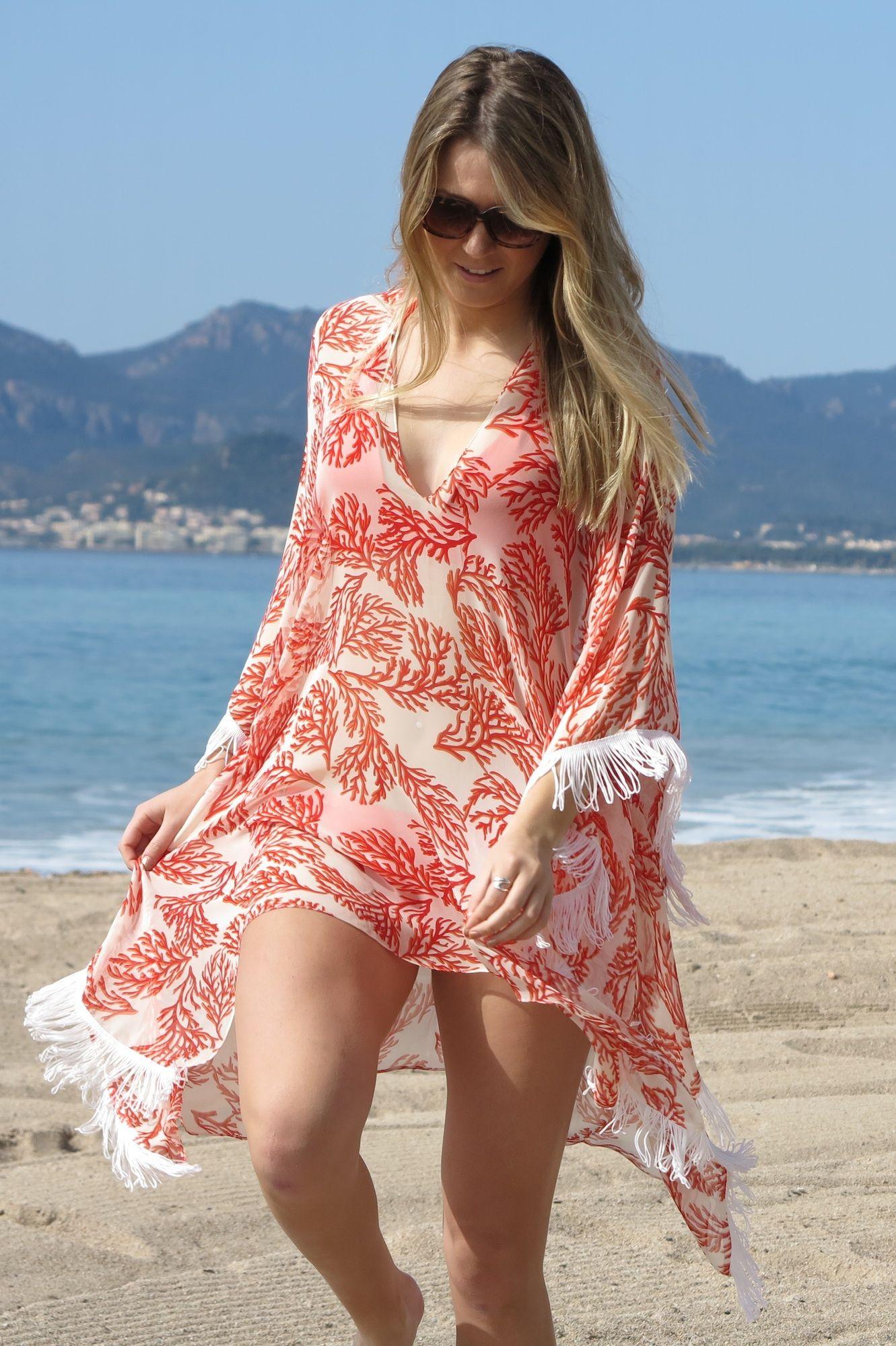 Online Luxury Beachwear and Cover Ups | Coral Print Fringed Sleeve ...