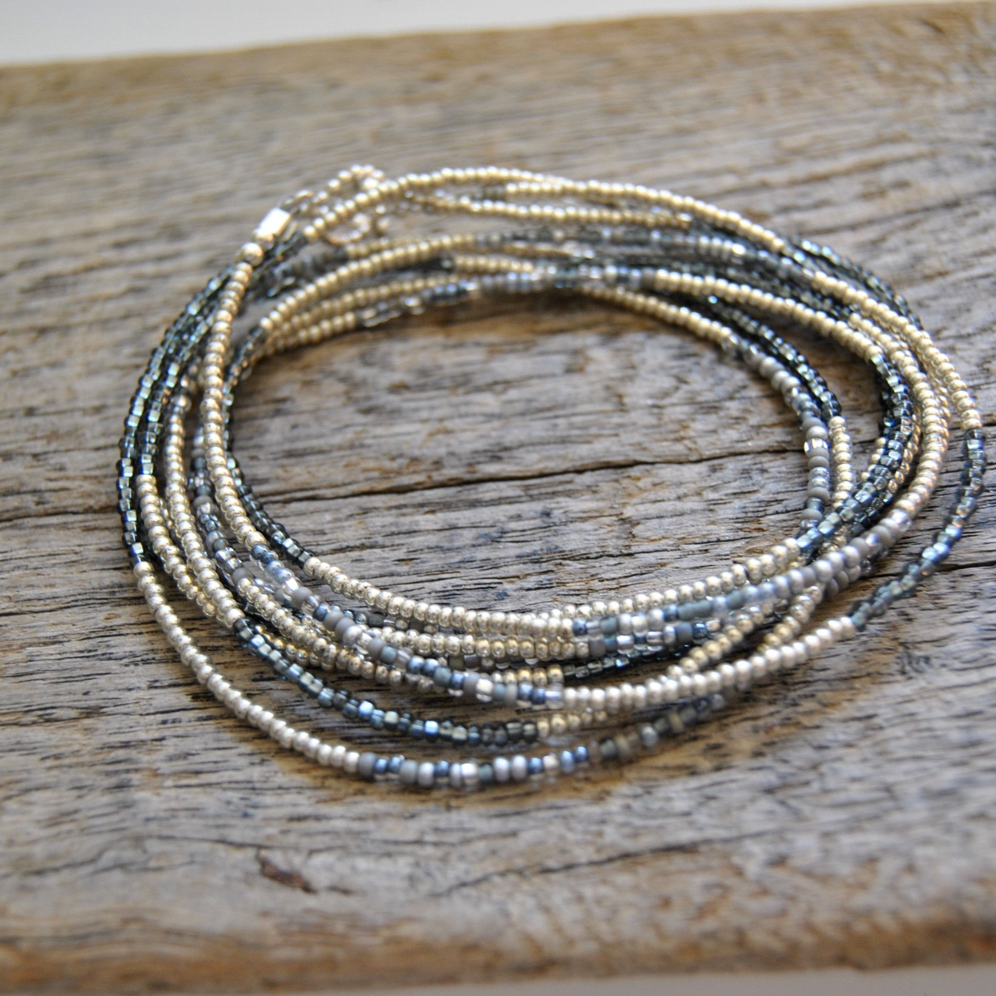 Seed Bead Wrap- Grey Mix and Silver from Beadorable Designs