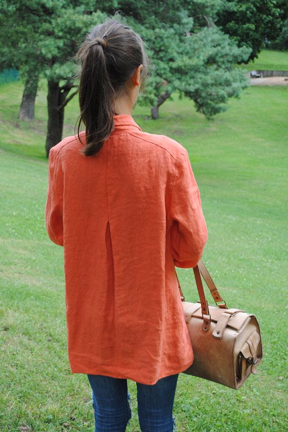 Orange linen tunic, linen tunic with collar, v-neck linen tunic, plus size linen tunic, womens tunic, loose linen tunic