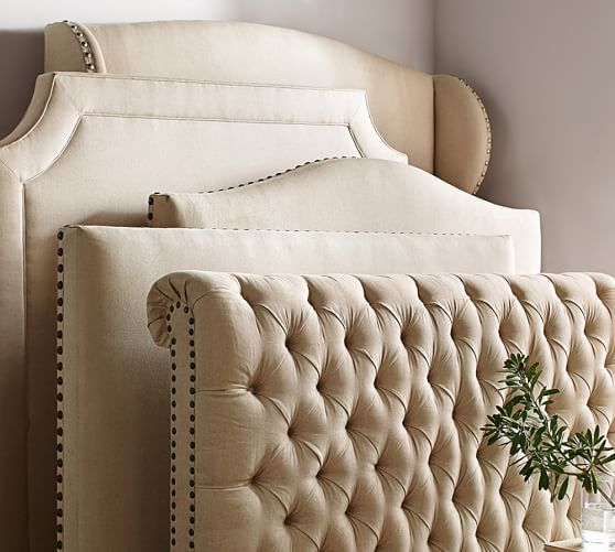 Uberlegen Raleigh Upholstered Nailhead Wingback Bed U0026 Headboard | Pottery Barn