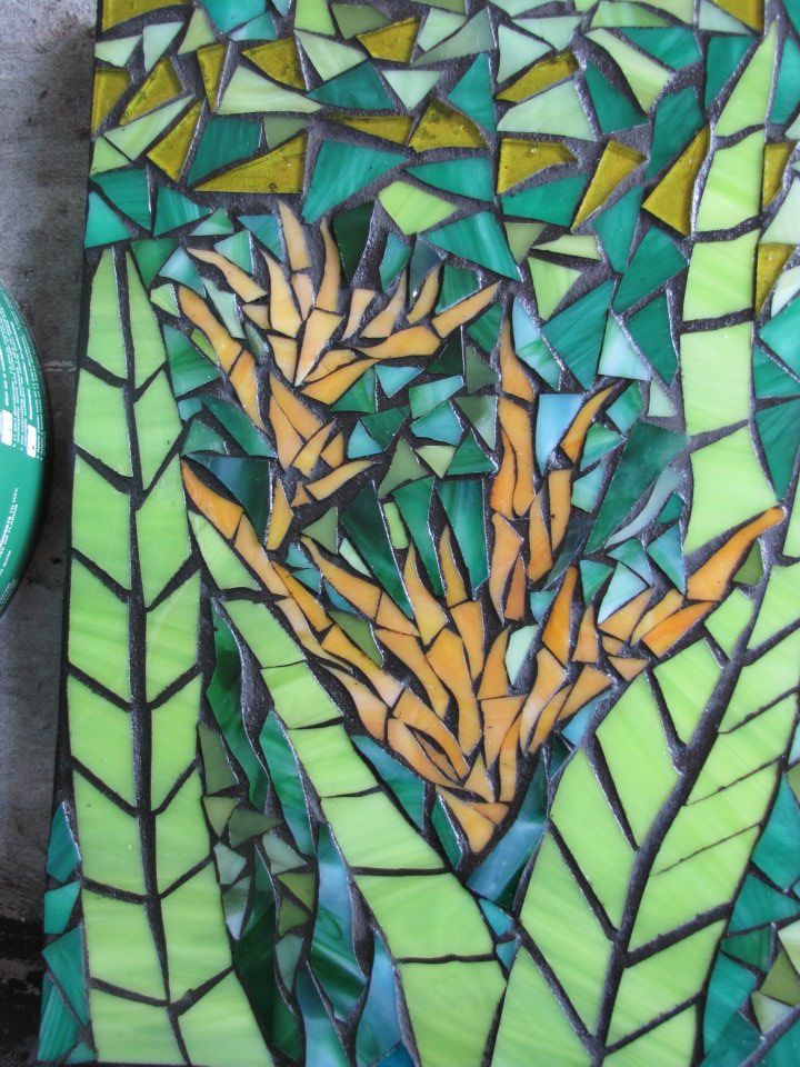 Mosaic by Kat Gottke , called Yellow Heliconia