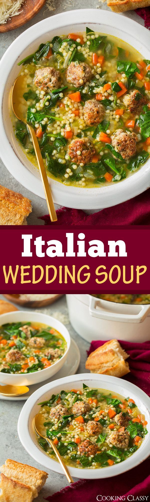 A delicious and hearty soup made with bite size herbed beef and pork meatballs, veggies and acini de pepe pasta. So good it may become a new favorite! #italianweddingsoup