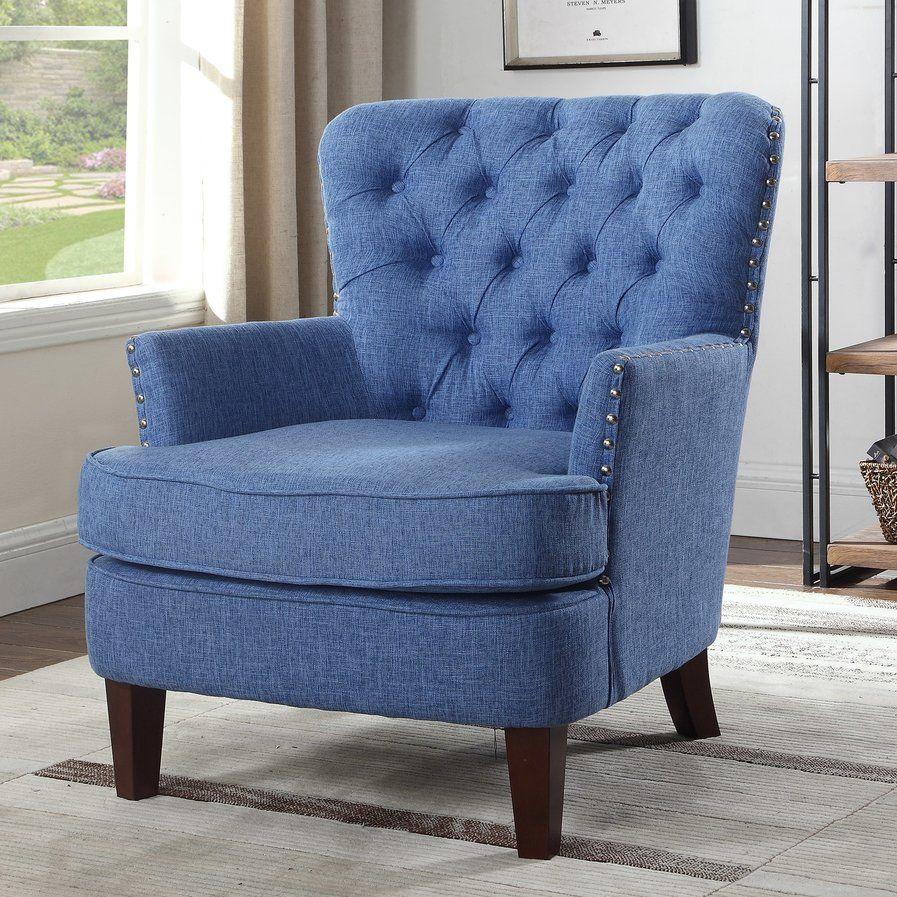Brazell nailhead button tufted armchair armchair