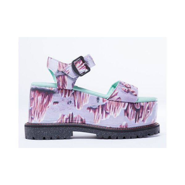 Adidas Originals X Opening Ceremony Rock Wedge (210,640 KRW) ❤ liked on Polyvore featuring shoes, sandals, lavender multi, high heel sandals, rock sandals, rock shoes, lavender sandals and high heel shoes