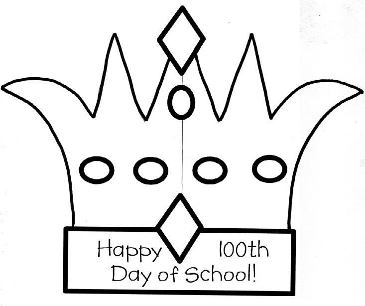 100th Day Crown Template 100th day of school coloring pictures - crown template