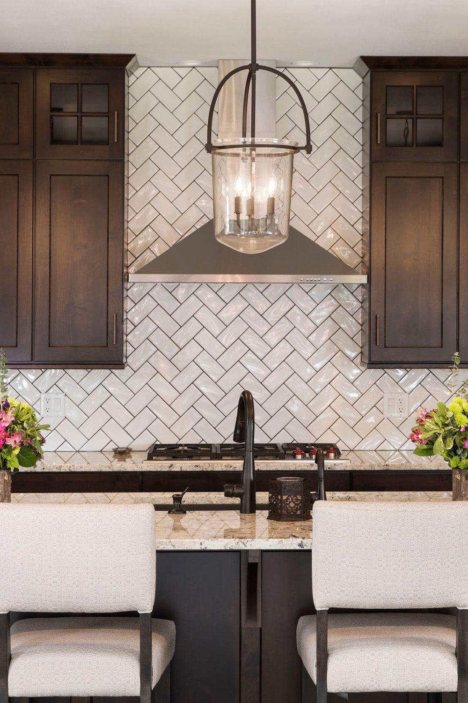 50 White Herringbone Backsplash Tile In Style White Kitchen Backsplash With Dark Cabinets Brown Kitchen Cabinets Kitchen Backsplash Designs