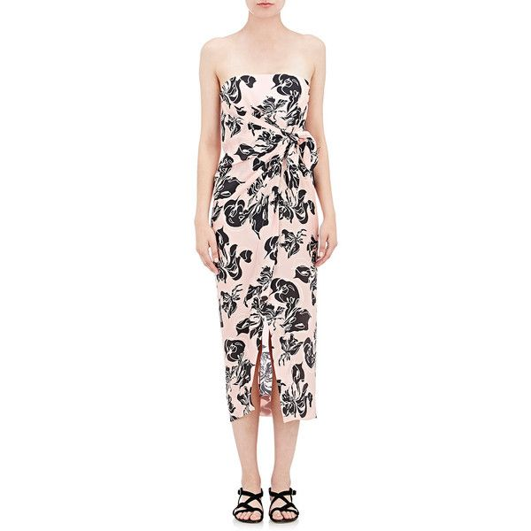 Cedric Charlier Wrap-Front Bandeau Dress ($1,275) ❤ liked on Polyvore featuring dresses, pink, graphic print dress, bandeau dress, floral pattern dress, floral dress and flower print dress