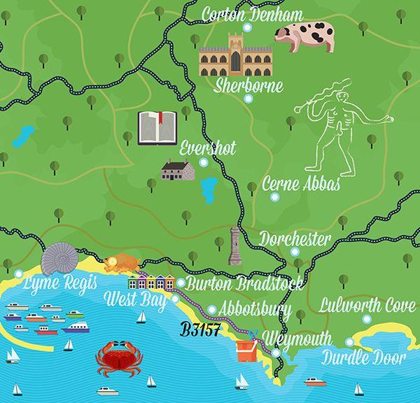Map Of England Jurassic Coast.James Boast Map Of Dorset Maps Uk Holidays Map Holiday