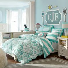 Teen Beds cute sky blue chevron bed spread from pbteen! description from