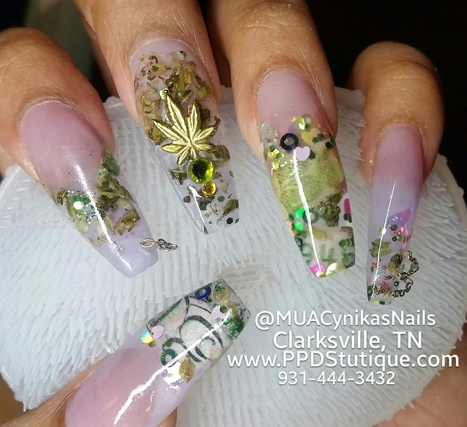 pink, money, mary, chains, and confetti nails Clarksville ...