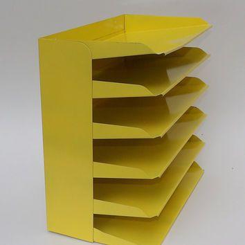 Desk Office Organizer Mail Sorter Letter Holder Yellow Decor Inbox Bill Slot  File Box Metal Desktop