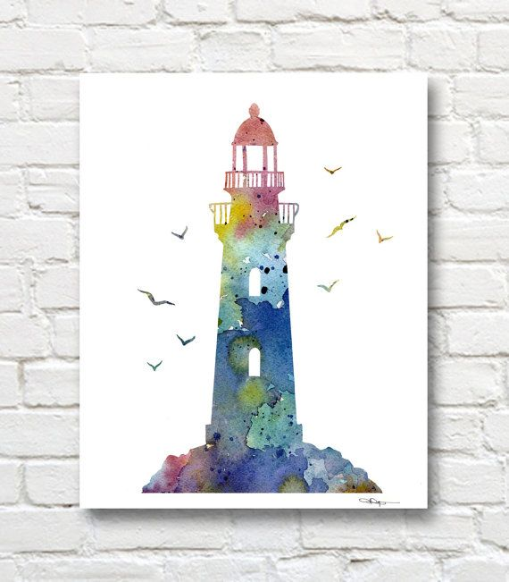 Lighthouse Watercolor Art Print Abstract Painting Wall Decor