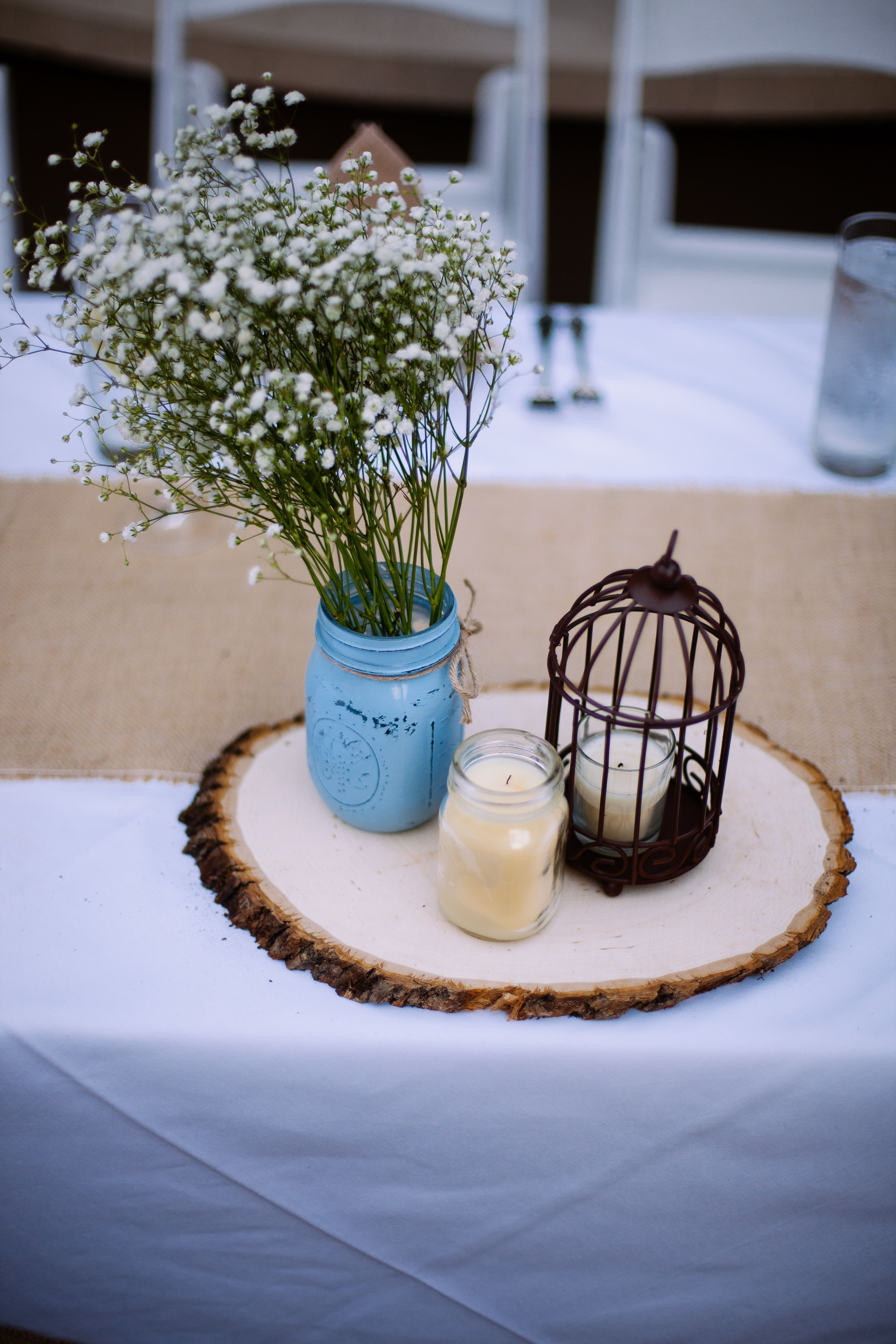 Rustic country wedding centerpieces with painted mason jars babys caitlin hamilton photography country wedding centerpiecesrustic junglespirit Image collections