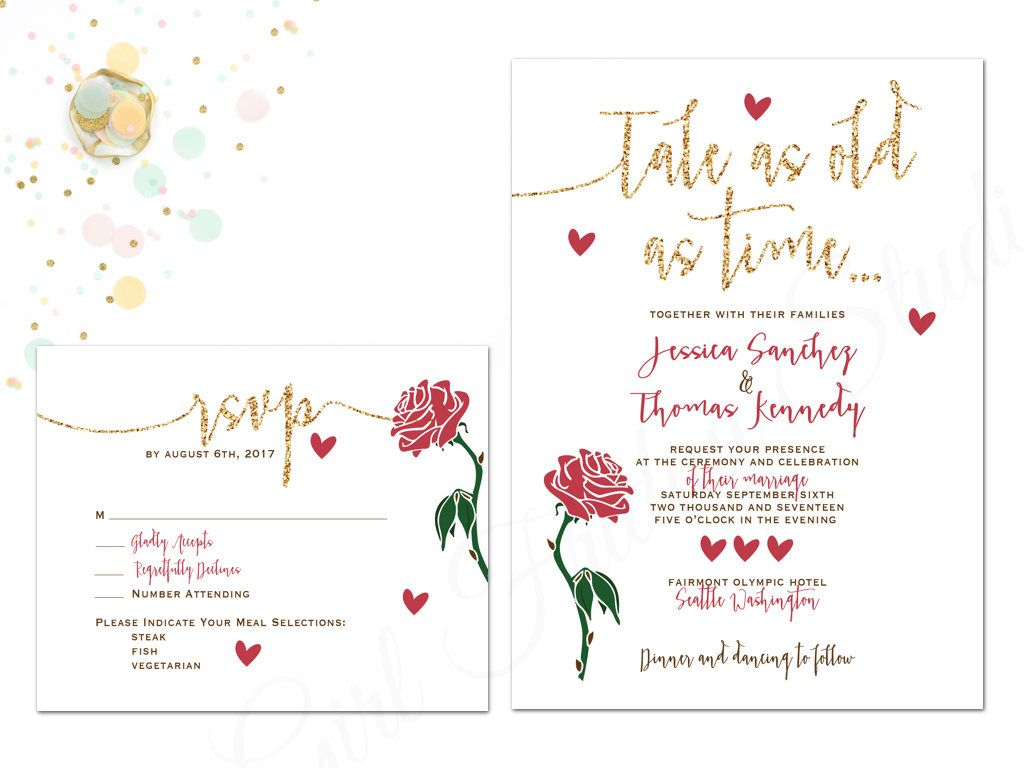 Beauty and the Beast Wedding Invitation - Be Our Guest - Wedding ...