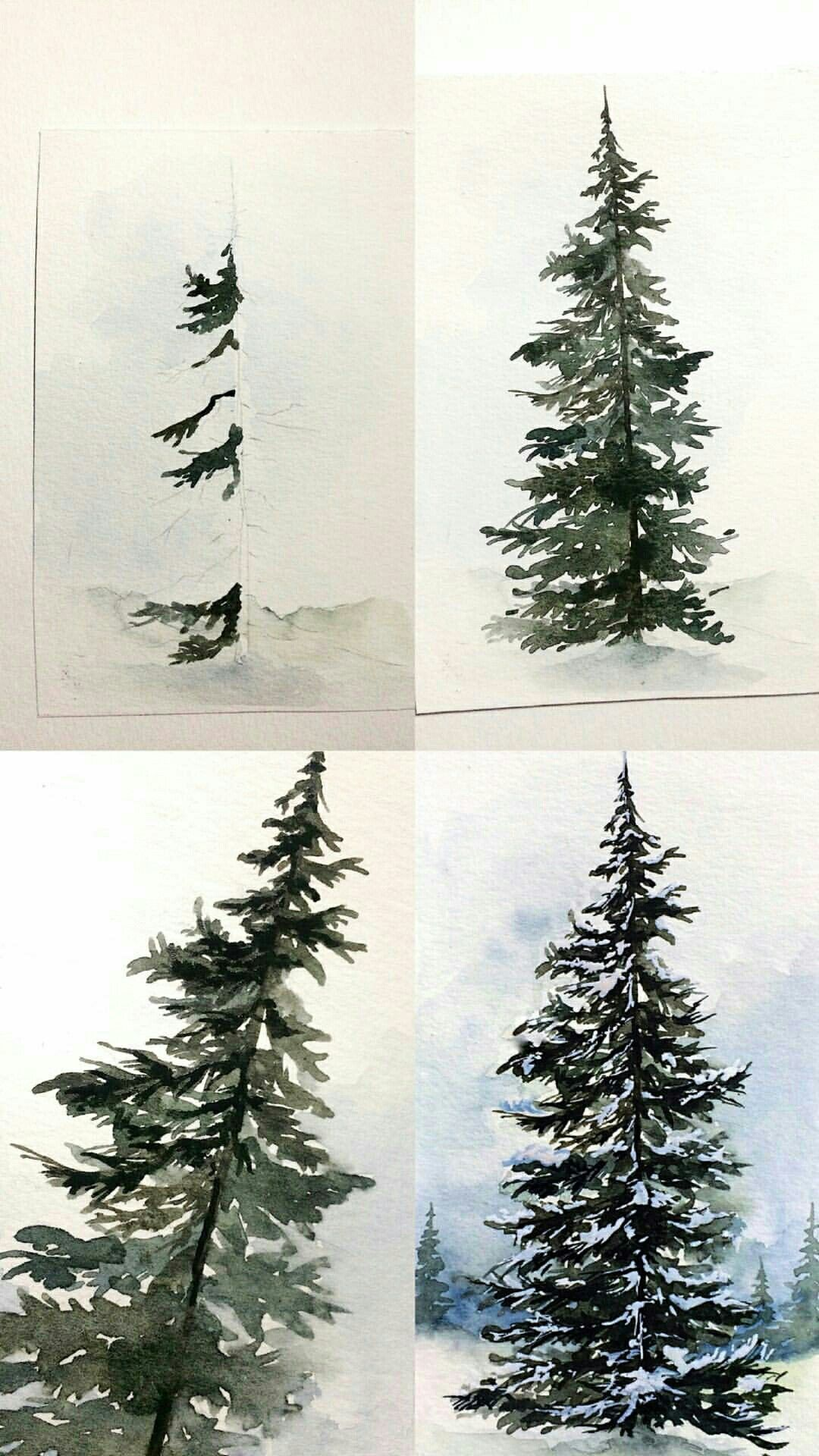Watercolor Winter Evergreen Tree Tree Drawing Watercolor Art Lessons Watercolor Trees
