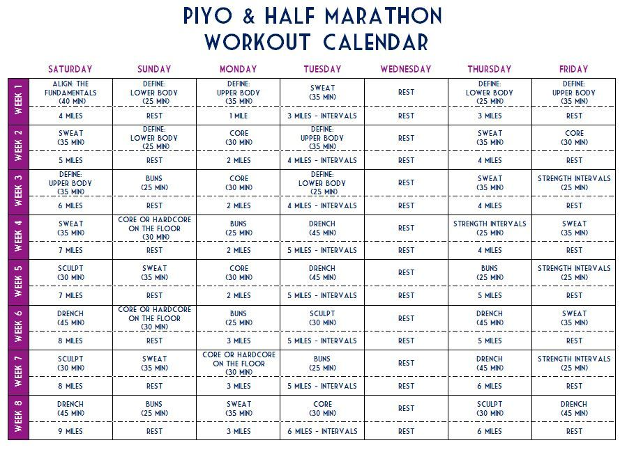 Piyo Half Marathon Challenge Workout Sheet By Kylachristine Workout