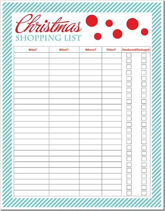 It's just a photo of Fan Printable Christmas Shopping List