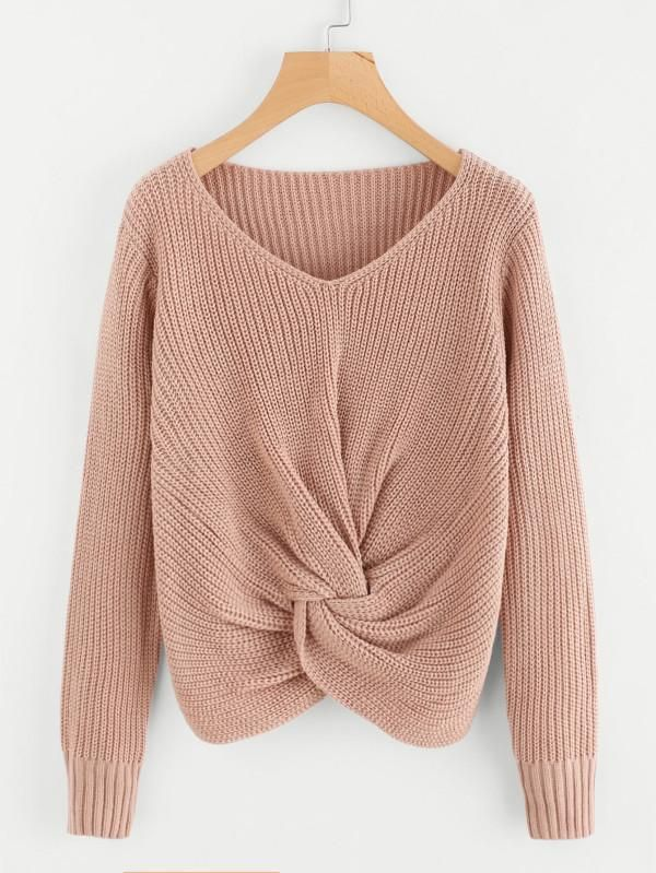 Fall Drop Shoulder With Twist Front Sweater. This Unique