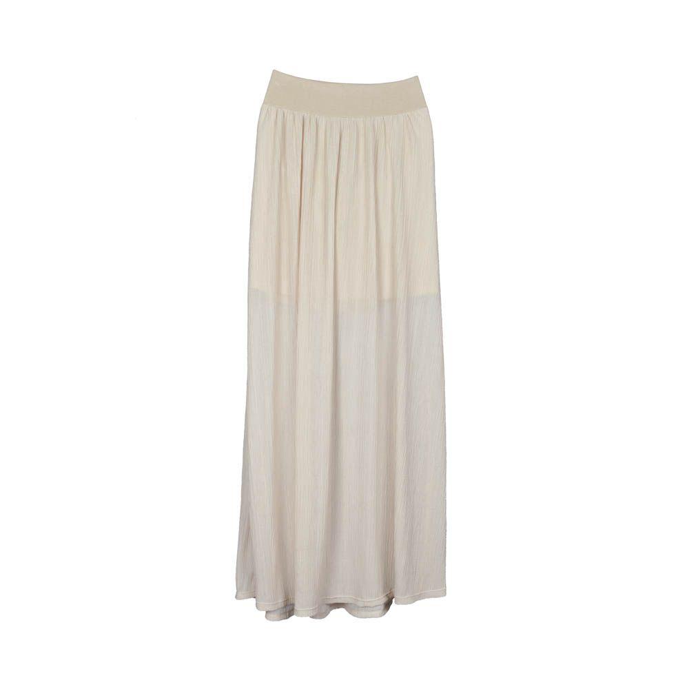 68f401006 Falda larga de mujer beige claro, tela gasa plisada, pretina ...