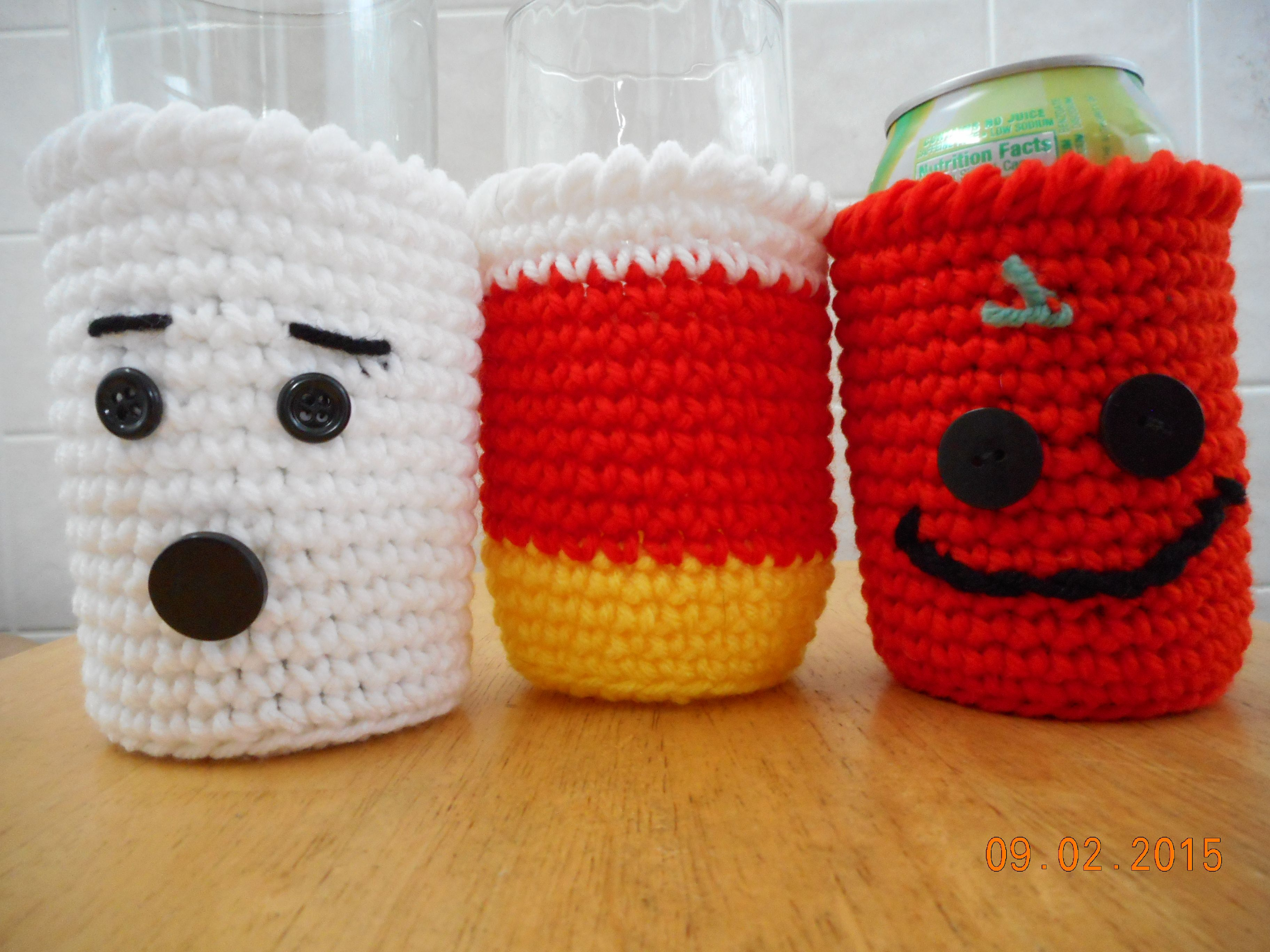 crocheted Halloween glass cozies available in etsy shop DebbyWebbysCreations