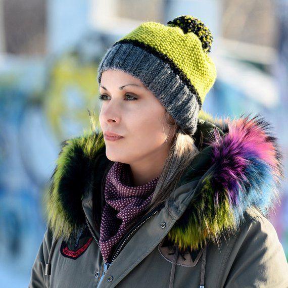 11d005b11de FREE SHIPPING Hand Knitted Hat Chunky Wool Pom Pom Green Multicolor  Designer Gray Black Winter Soft