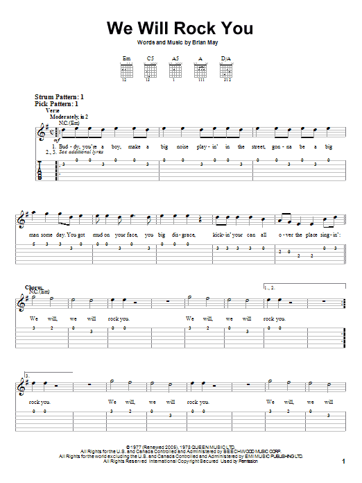 We Will Rock You by Queen - Easy Guitar Tab - Guitar Instructor