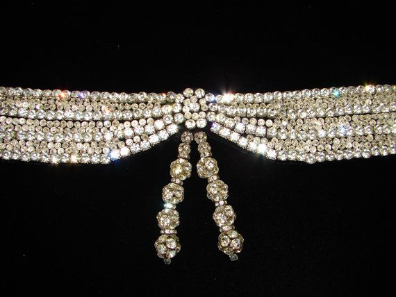 Vintage Rhinestone Black Velvet 29 Belt Beverly by trishnajewelry, $445.00